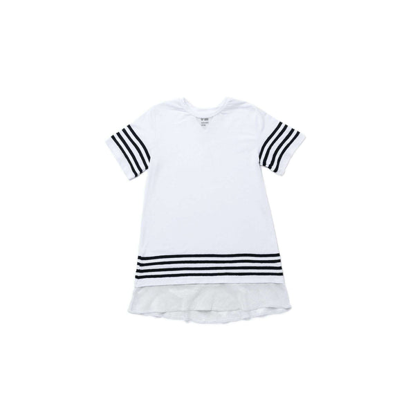 OMAMIMINI:Girls Baseball Tee Dress | White OM268