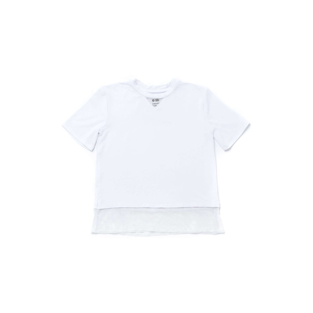 OMAMIMINI:Girls Baseball Tee with Mesh | White OM275