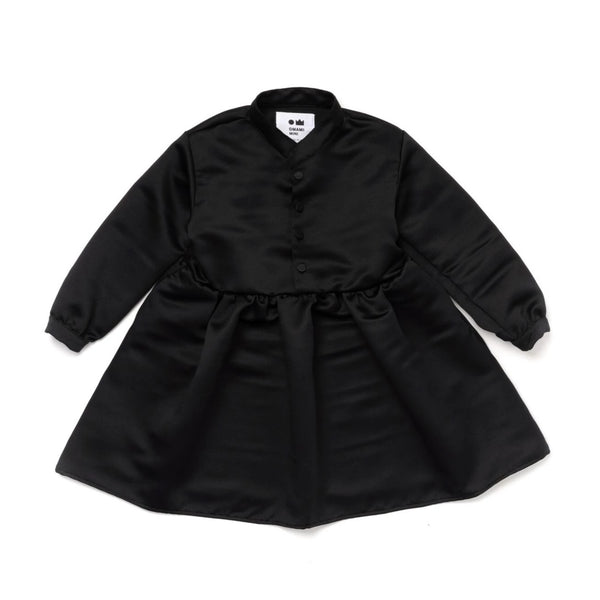 Girls Japanese Double Satin Buttoned Dress | Black | OM381