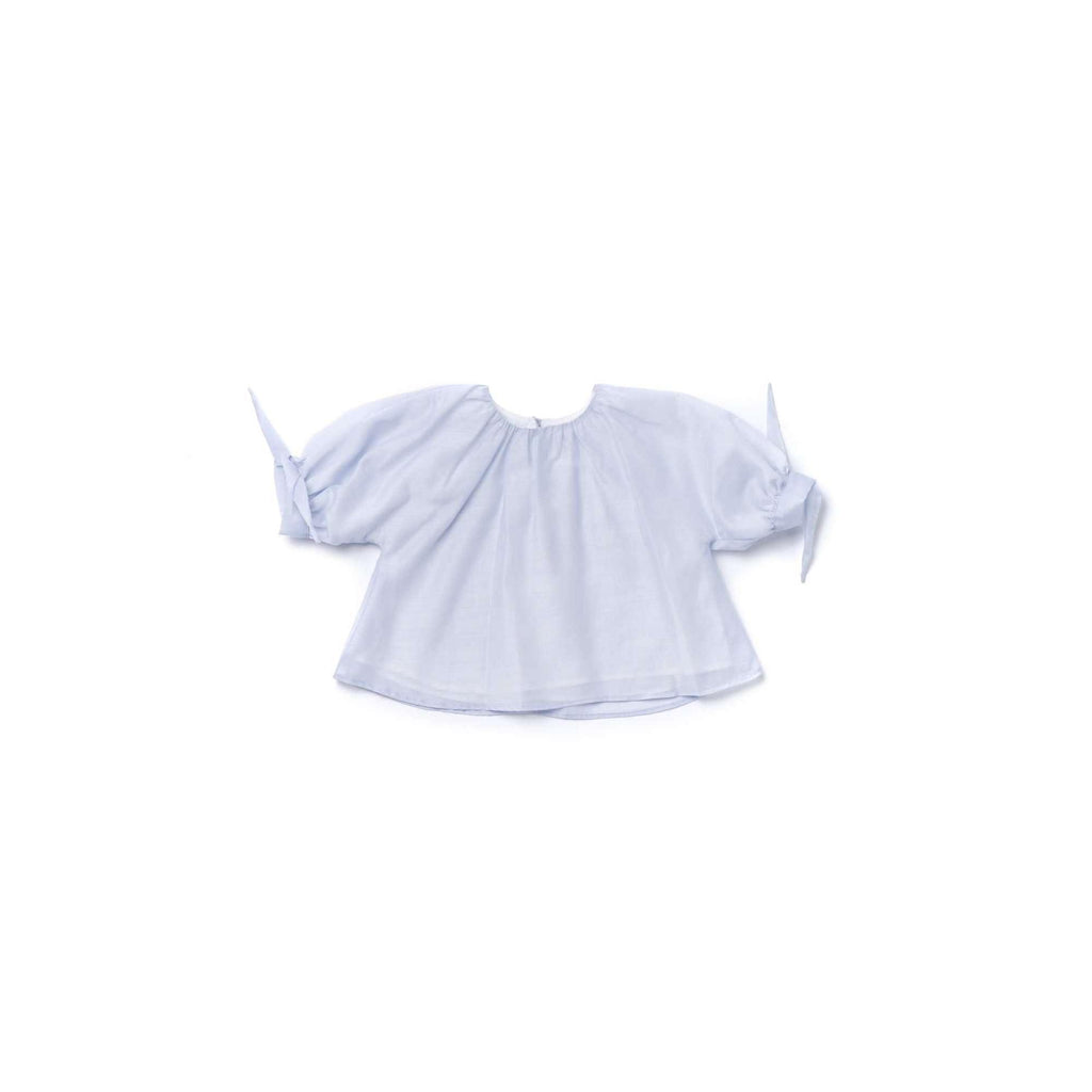 OMAMIMINI:Girls Blouse with Puffed Sleeves in Layered Organza | Light Blue OM345