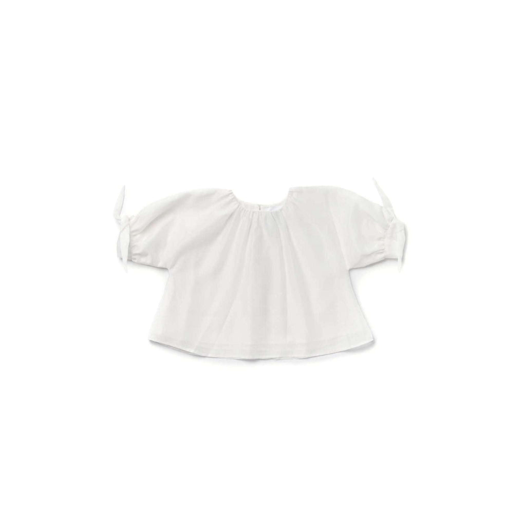 OMAMIMINI:Girls Blouse with Puffed Sleeves in Layered Organza | Off-White OM345
