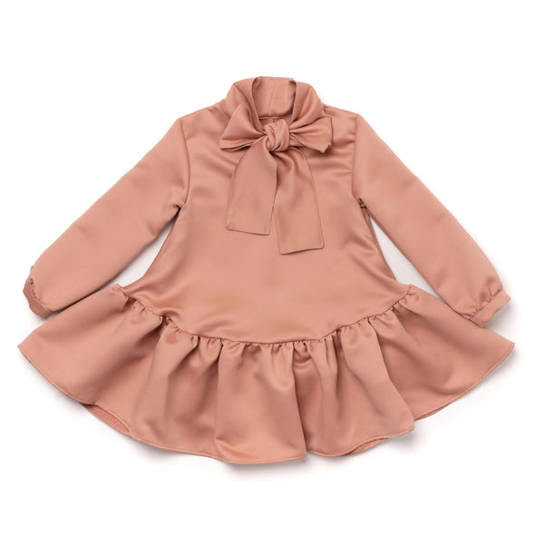 Girls Satin Ruffled Dress with Front Bow | Blush | OM382