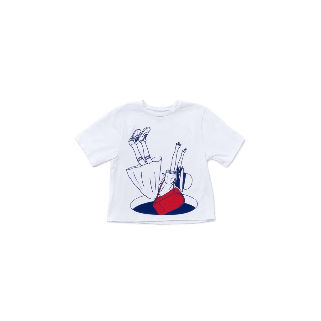 OMAMIMINI:Girls Boxy Tee with Japanese Schoolgirl Print | White OM354