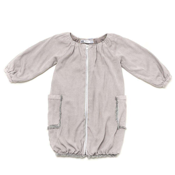 OMAMIMINI:Girls Bubble Jacket in Fringed Denim | Stone OM210