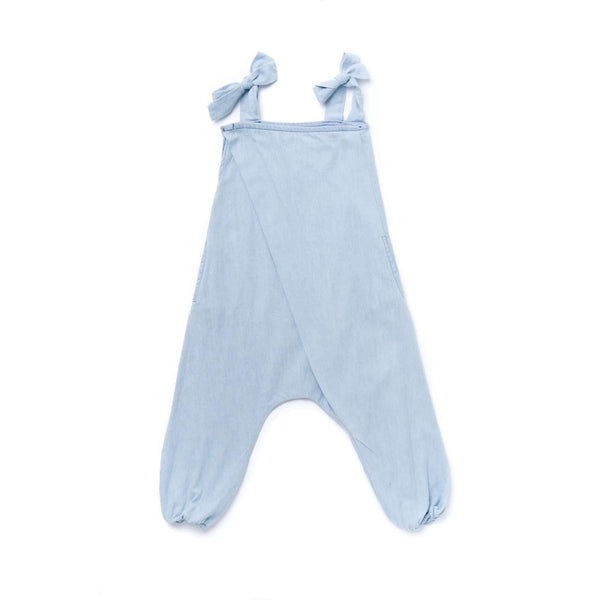 OMAMIMINI:Girls Chambray Jumpsuit with Front Pleat | Light Blue OM359