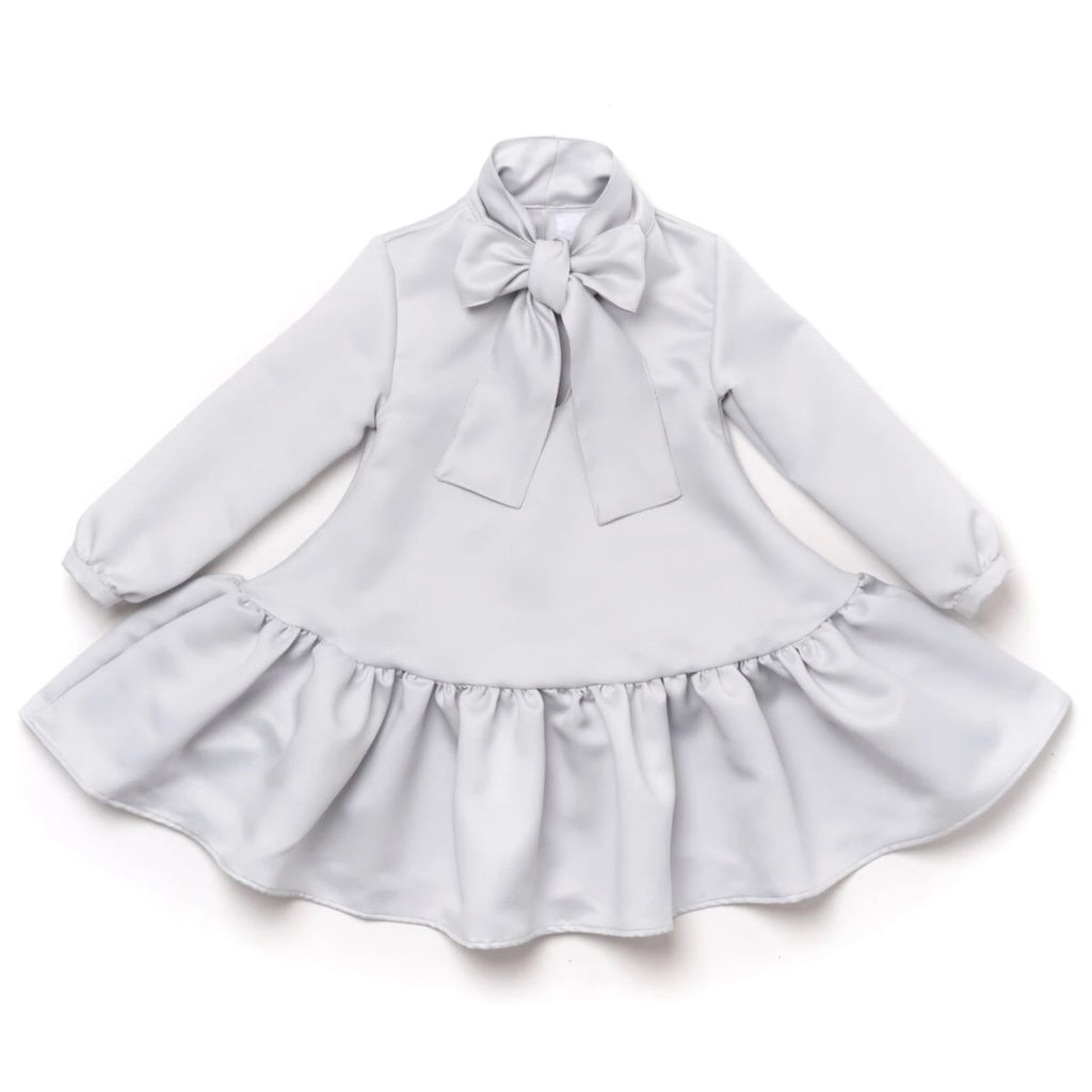 Girls Satin Ruffled Dress with Front Bow | Cloud | OM382