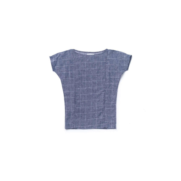 OMAMIMINI:Girls Dolman Sleeve Dress in Windowpane | Indigo OM352