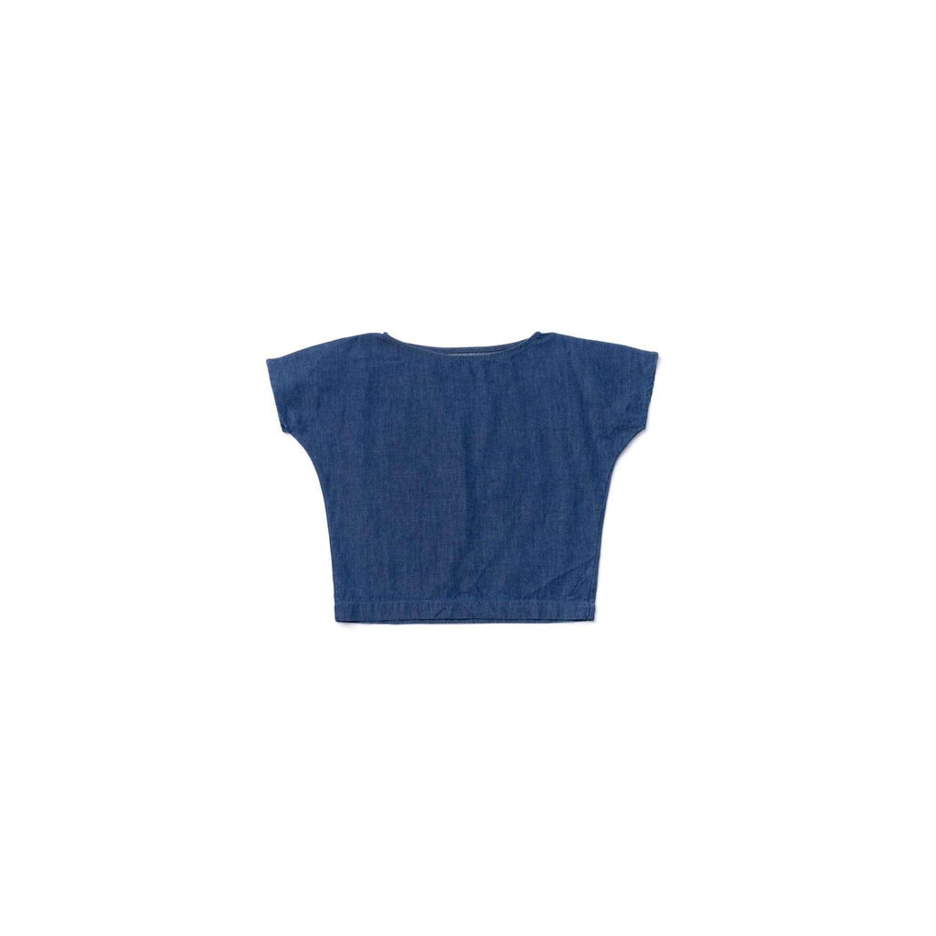 OMAMIMINI:Girls Dolman Sleeve Top in Chambray | Indigo OM351
