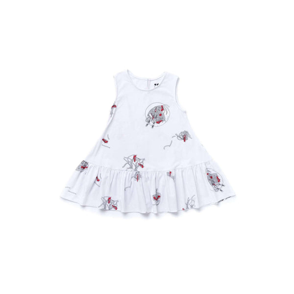 OMAMIMINI:Girls Dress with Noodles Print and Ruffle | White OM356