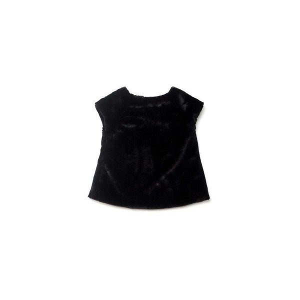 OMAMIMINI:Girls Faux Fur Cap Sleeve Top | Black OM180