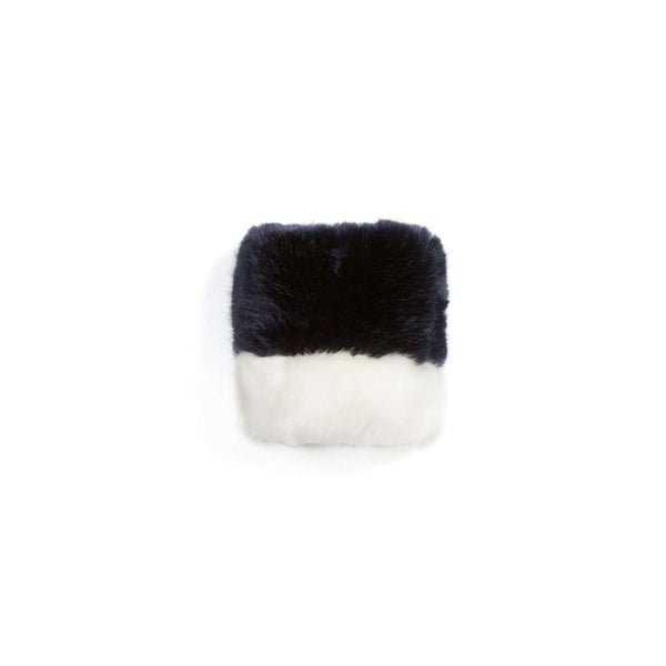 OMAMIMINI:Girls Faux fur Color Block Hand Muff | OM120 Indigo + White
