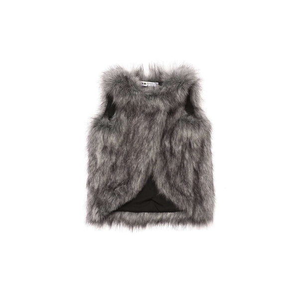 OMAMIMINI:Girls Faux Fur Vest | Husky Grey OM246
