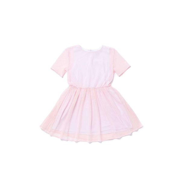 OMAMIMINI:Girls Fit and Flare Mesh Dress | Pink OM265