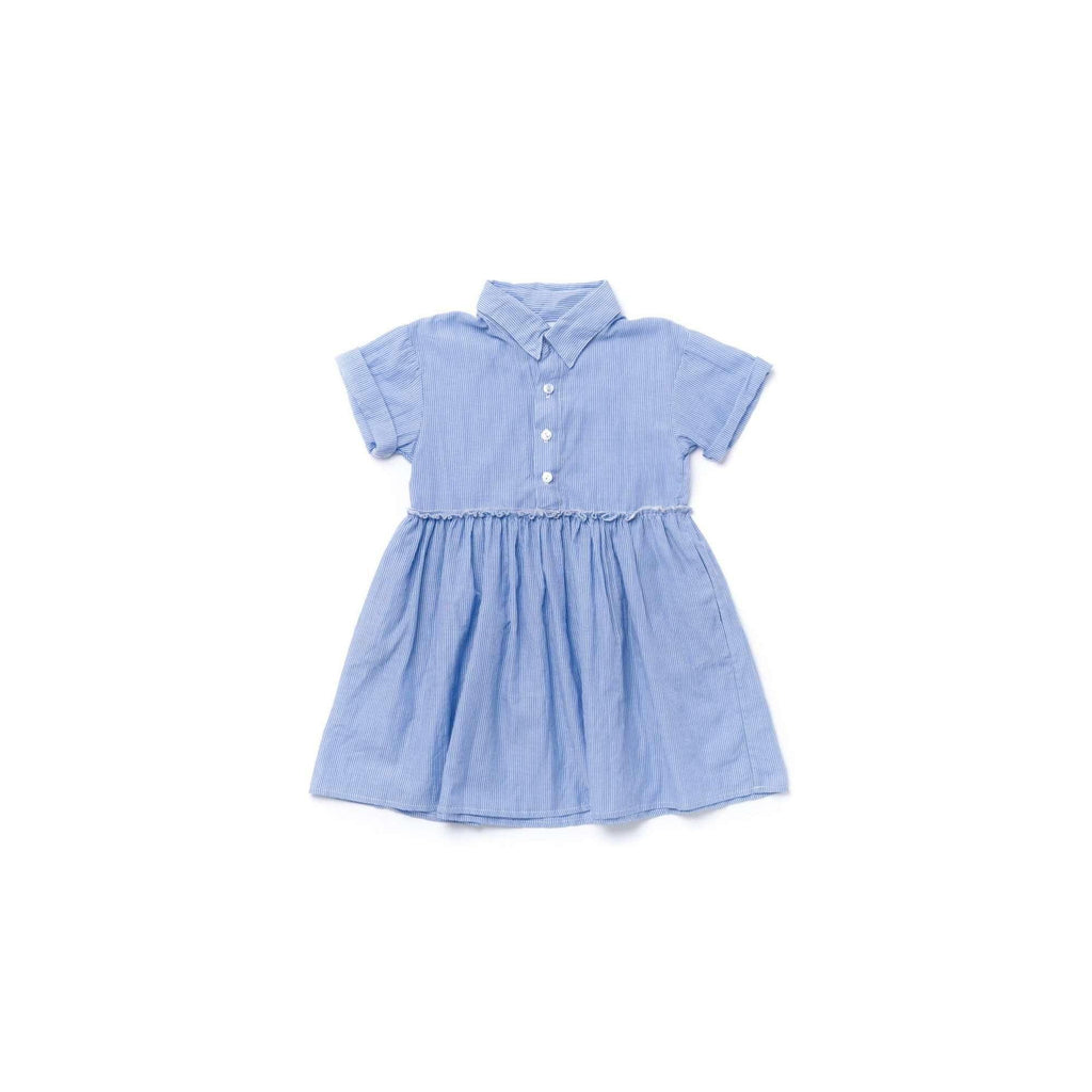OMAMIMINI:Girls Fit and Flare Striped Shirt Dress | Light Blue OM349