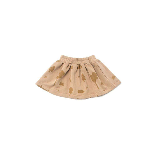 OMAMIMINI:Girls Fleece Skirt with Secret Forest Print | Camel OM177a