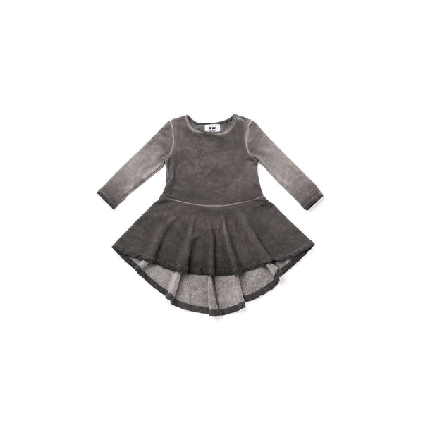 OMAMIMINI:Girls Hi-Low Fleece Dress | Vintage Black OM320