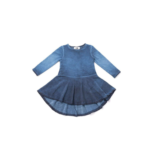 OMAMIMINI:Girls Hi-Low Fleece Dress | Vintage Blue OM320