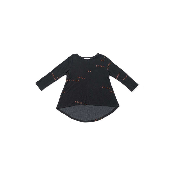 "OMAMIMINI:Girls Hi-Low Long Sleeve Tunic with ""Going Places"" Print 