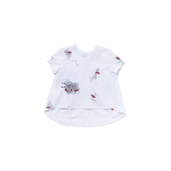 OMAMIMINI:Girls Hi-low T-Shirt with Noodles Print | White OM357