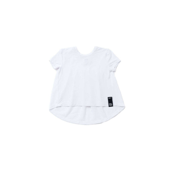 OMAMIMINI:Girls High-Low T-shirt with Gathered Mesh Back | White OM272