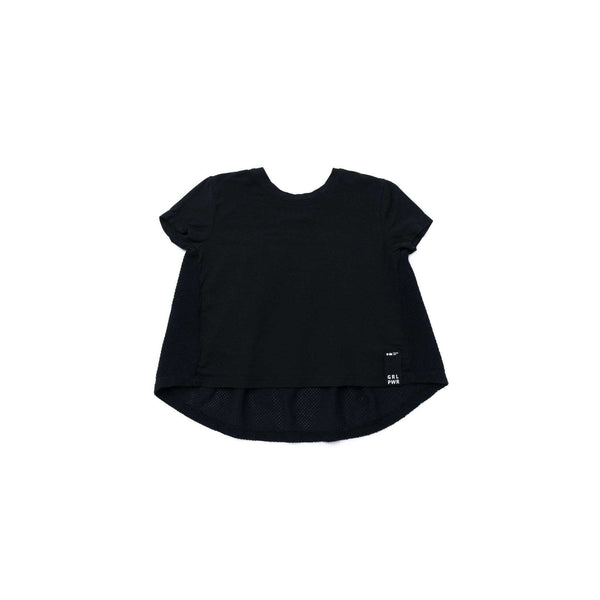 OMAMIMINI:Girls High-Low Tee with Gathered Mesh Back | Black OM272