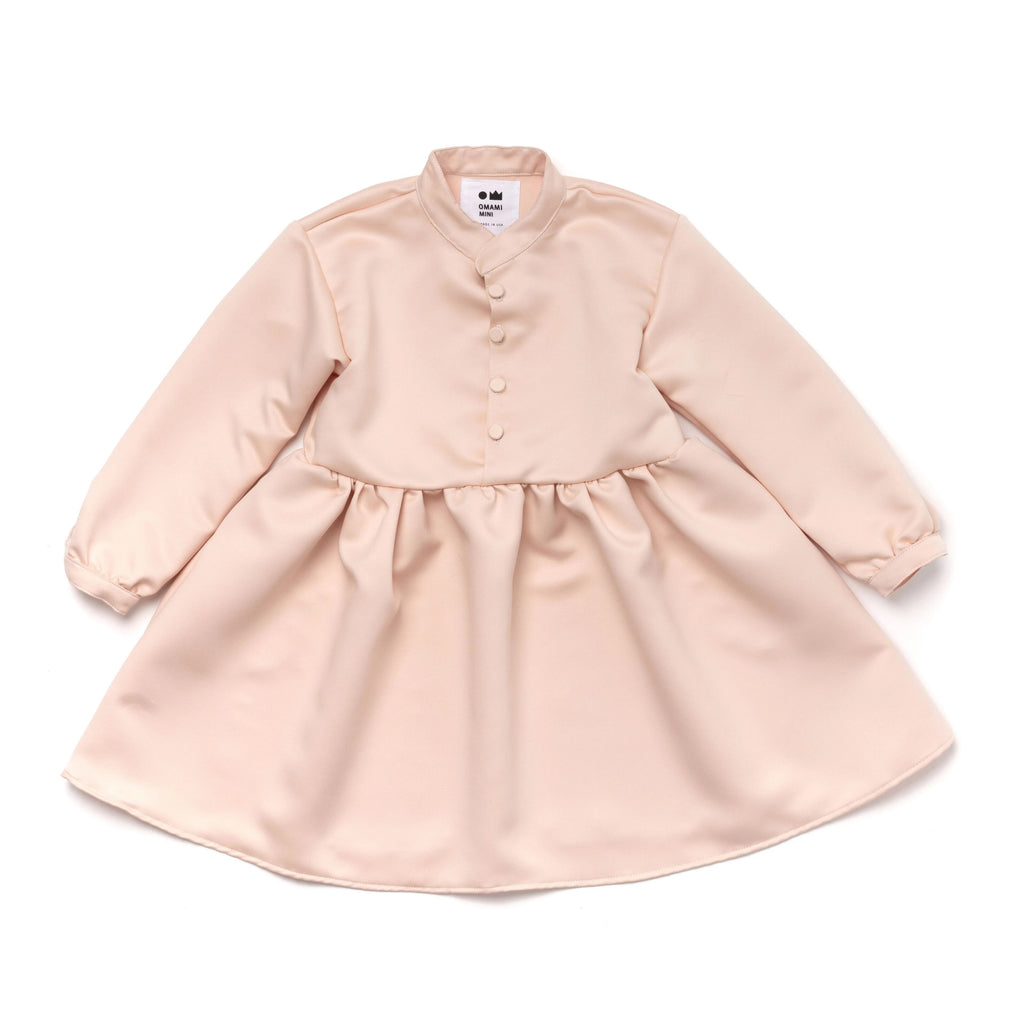 Girls Japanese Double Satin Buttoned Dress | Pale Pink | OM381 - OMAMImini