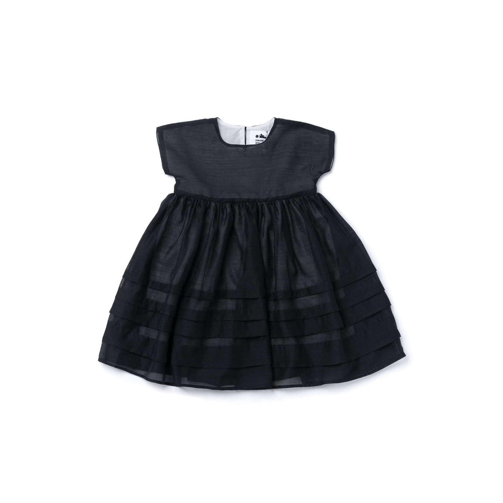 OMAMIMINI:Girls Layered Dress in Organza  | Black OM347