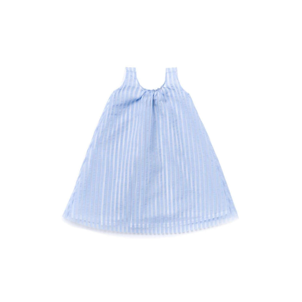 OMAMIMINI:Girls Layered Dress in Striped Organza | Blue OM344