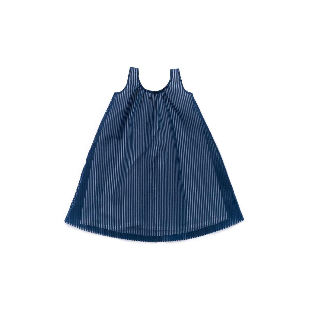 OMAMIMINI:Girls Layered Dress in Striped Organza| Navy OM344