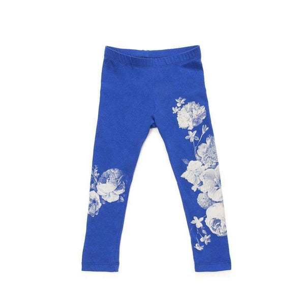 OMAMIMINI:Girls Leggings with Floral Print | Blue OM94A