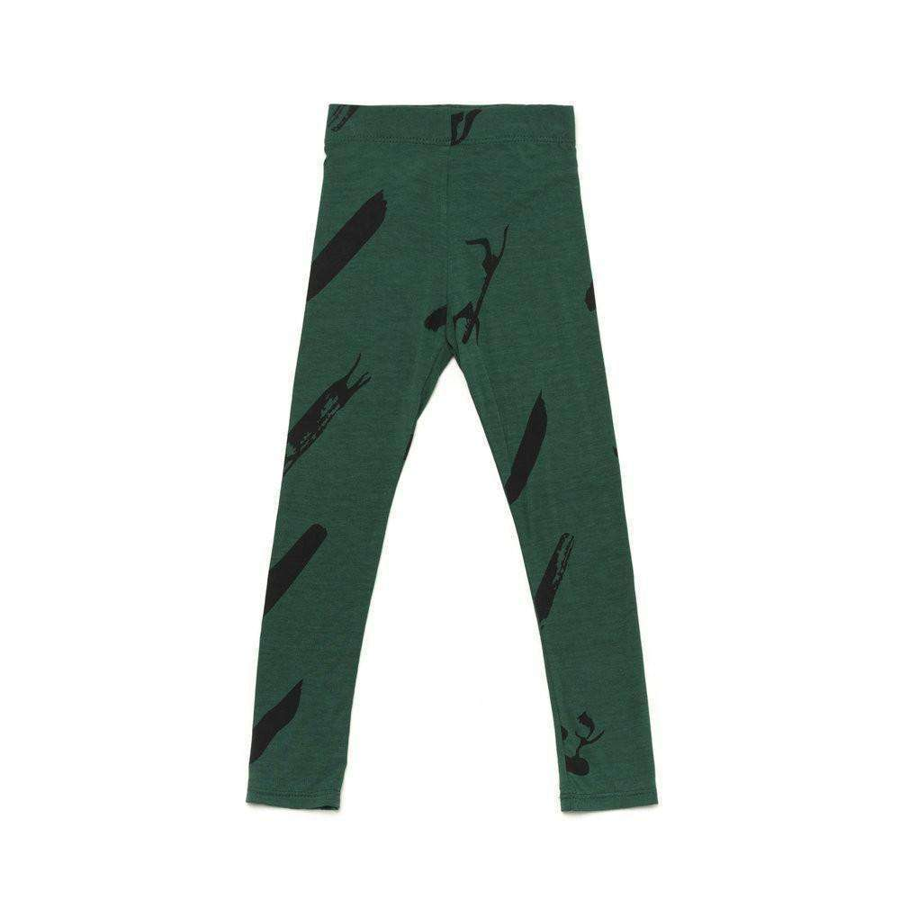 OMAMIMINI:Girls Leggings with Unfinished Print | Pine Green OM207