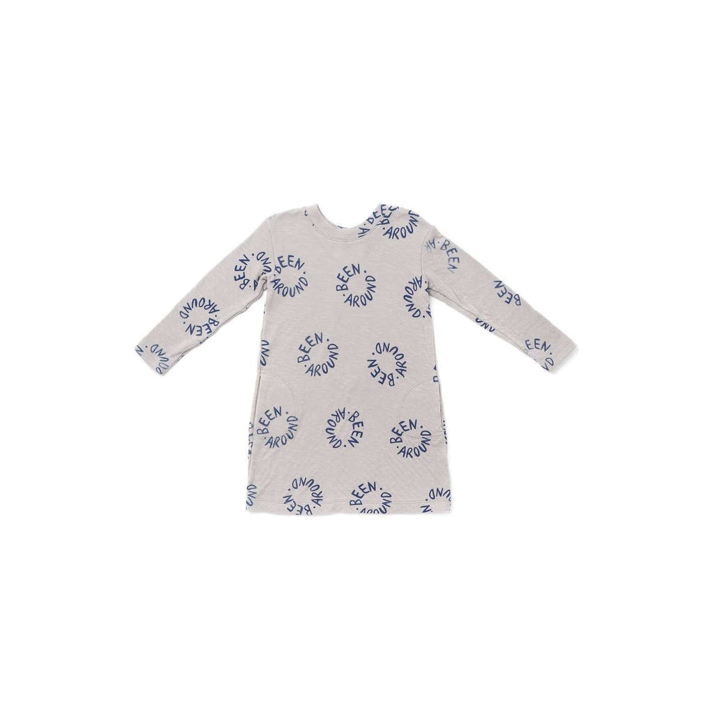 "OMAMIMINI:Girls Long Sleeve Tee Dress with ""Been Around"" Print 
