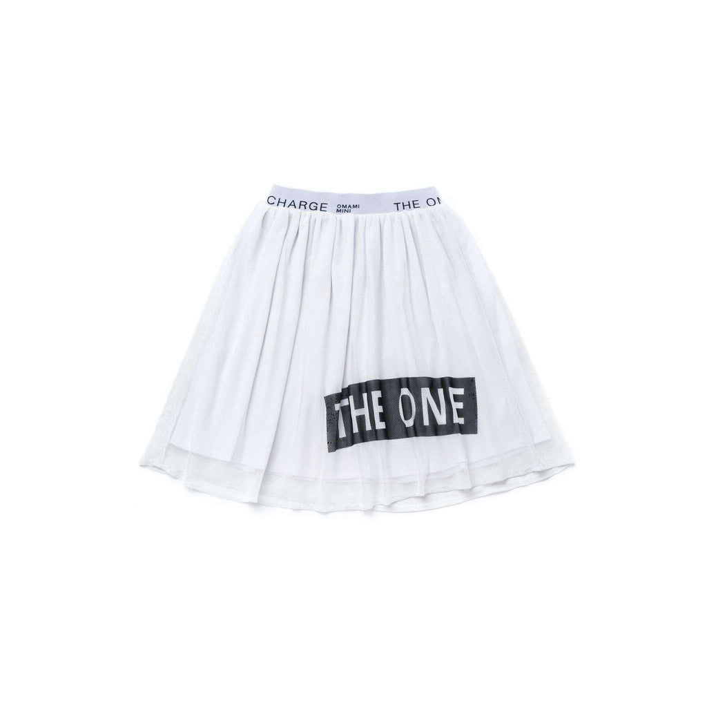 "OMAMIMINI:Girls Mesh Skirt with ""THE ONE"" Print 