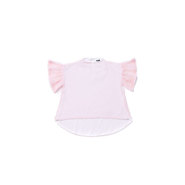 OMAMIMINI:Girls Mesh Top with Ruffled Sleeve | Pink OM266