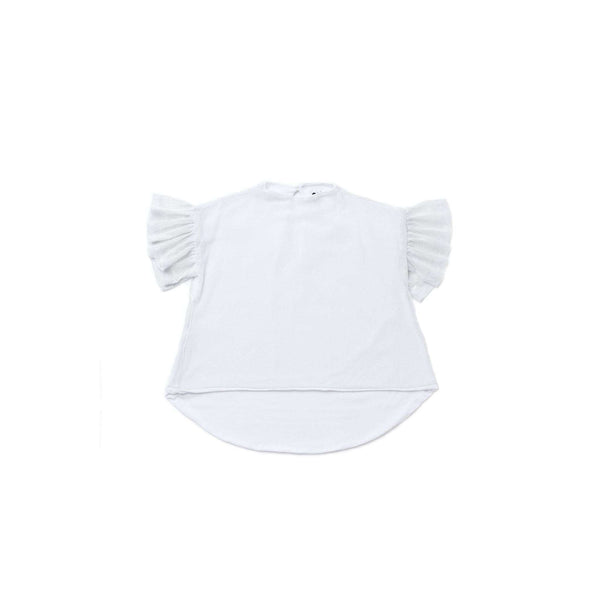 OMAMIMINI:Girls Mesh Top with Ruffled Sleeve | White OM266