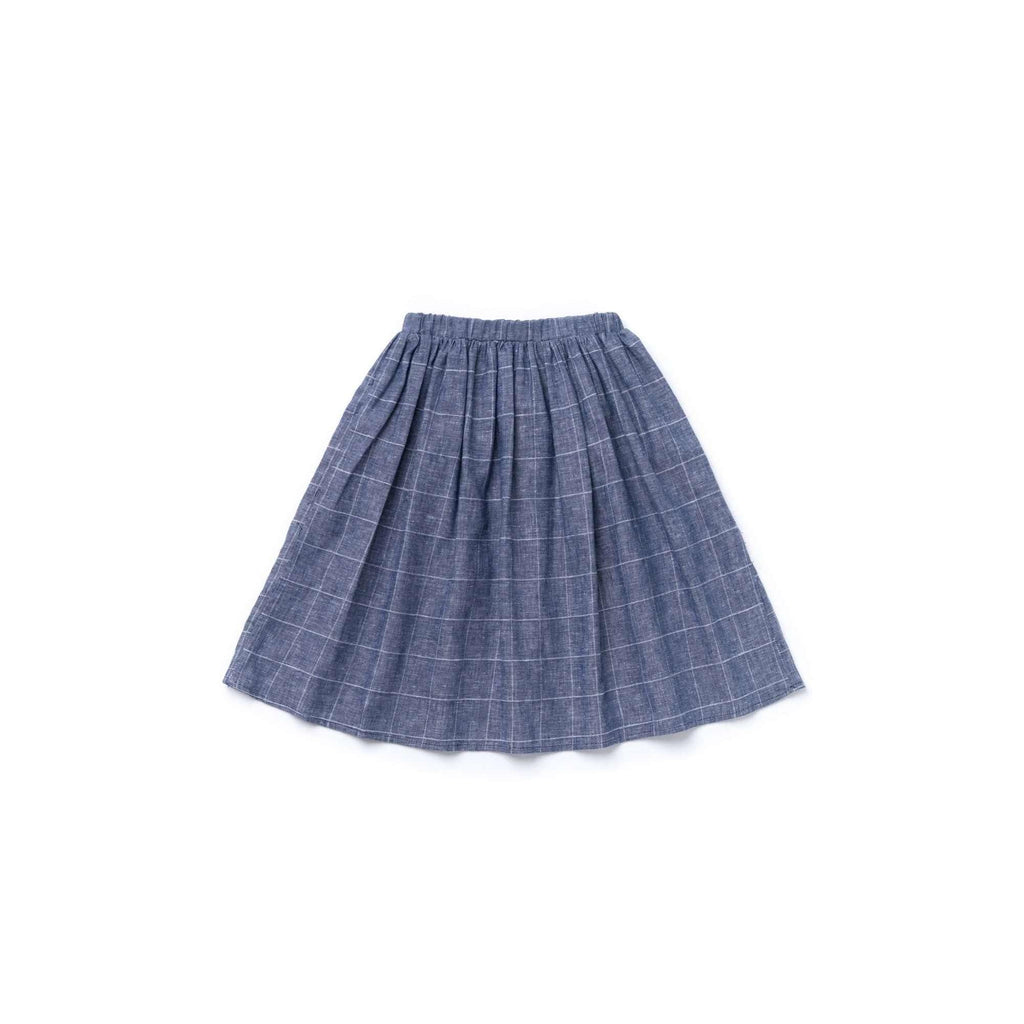 OMAMIMINI:Girls Midi Skirt | Windowpane Indigo OM361