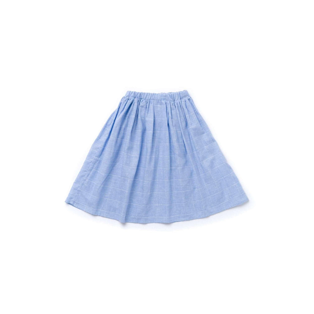 OMAMIMINI:Girls Midi Skirt | Windowpane Light Blue OM361