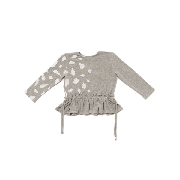 OMAMIMINI:Girls' Peplum Top with Side Strings and Icebergs Print | Heather Grey OM237