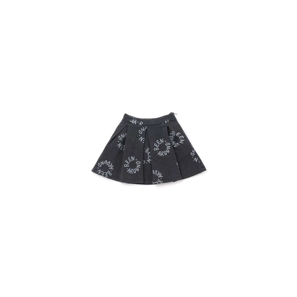 "OMAMIMINI:Girls Pleated Fleece Skirt with ""Been Around"" Print 