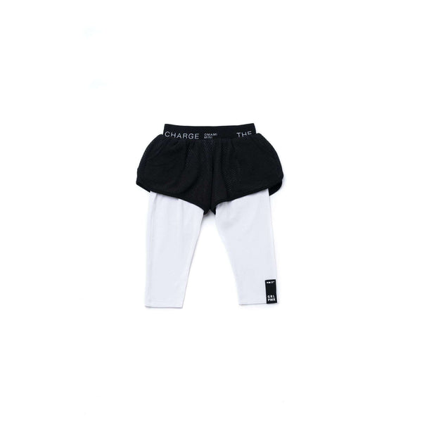 OMAMIMINI:Girls Running Mesh Shorts with Leggings | Black OM273