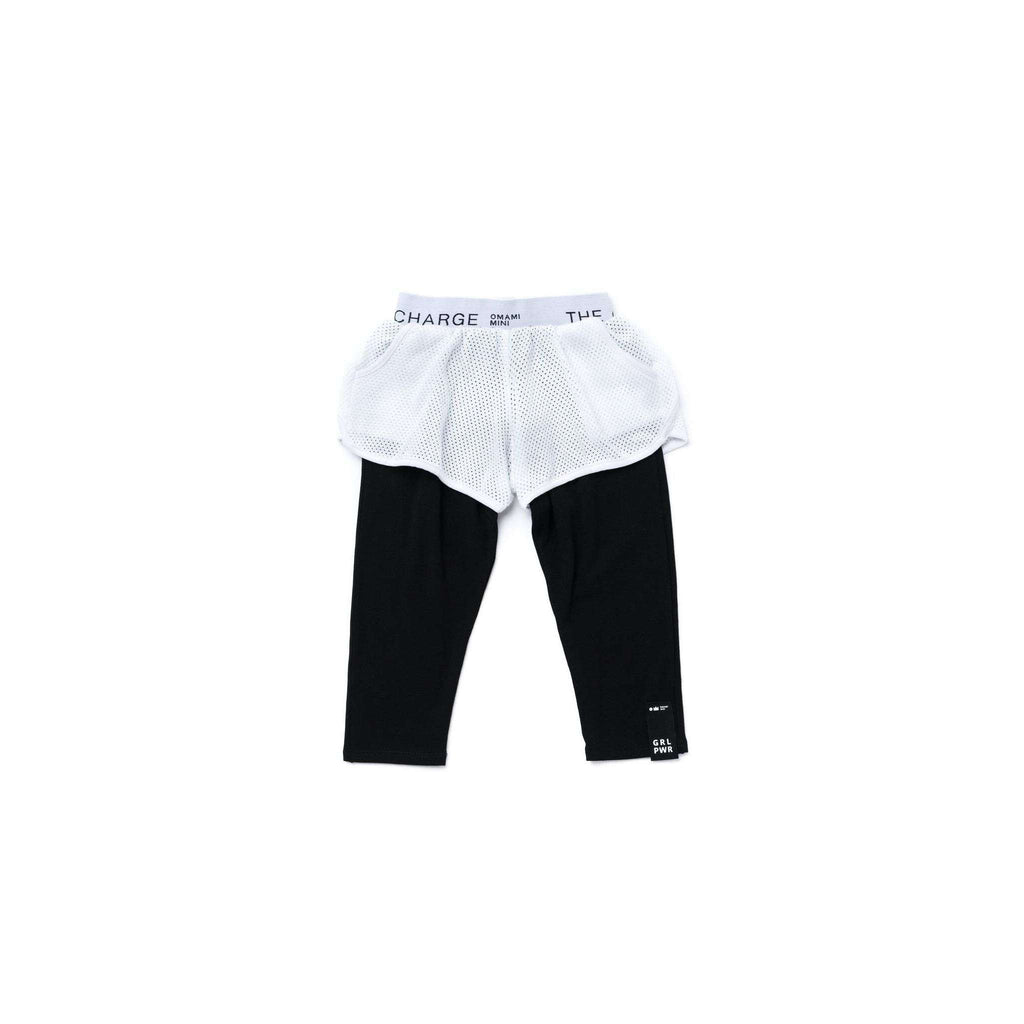 OMAMIMINI:Girls Running Mesh Shorts with Leggings | White OM273