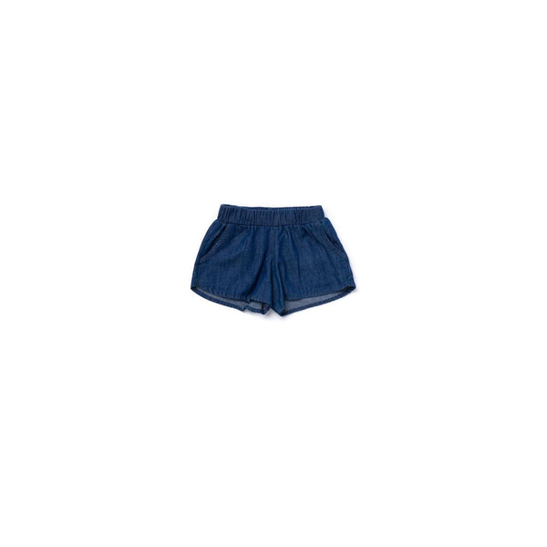 OMAMIMINI:Girls Running Shorts in Chambray | Indigo OM358