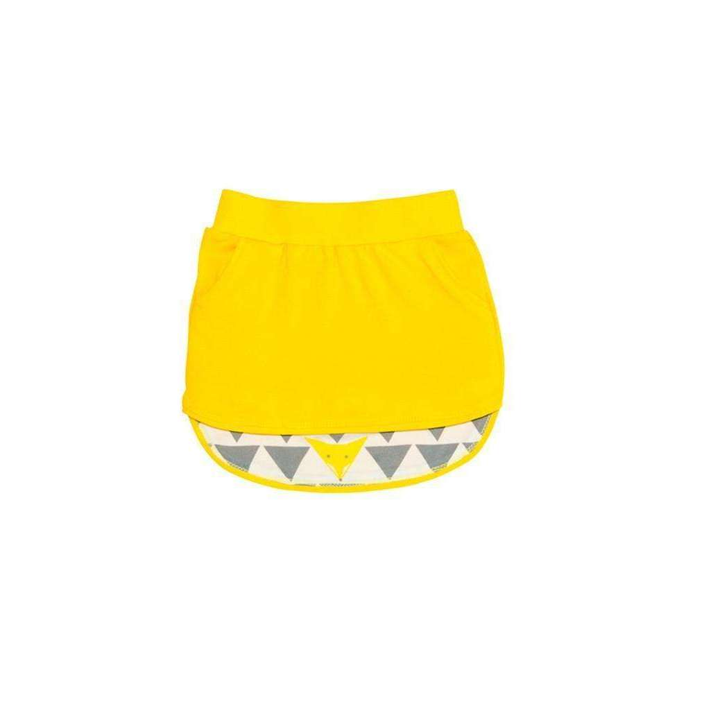 OMAMIMINI:Girls Skirt with Contrast Print on Back Lining | Yellow OM42