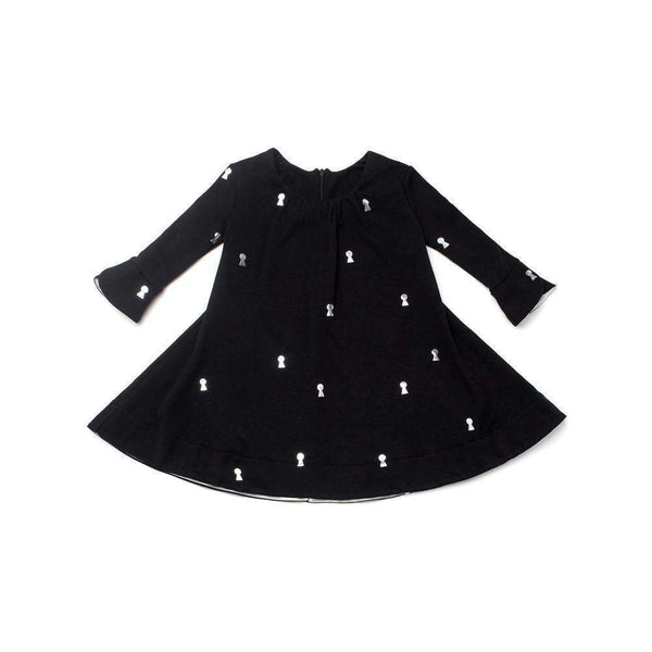 OMAMIMINI:Girls Tent Dress with Keyhole Print | Black OM173