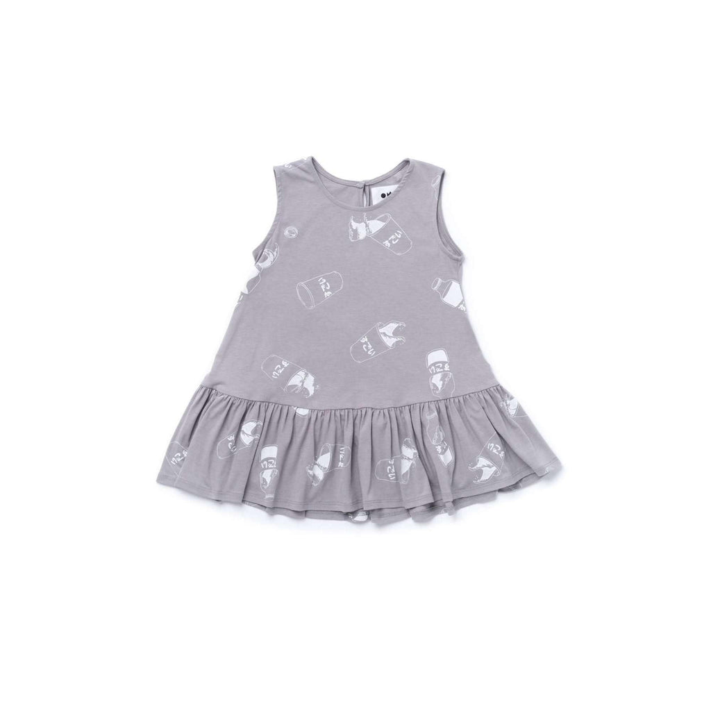 17e1b8a7d OMAMIMINI:Girls Tent Dress with Ruffle and Japanese Soda Print | Grey OM356