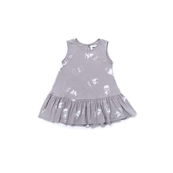 OMAMIMINI:Girls Tent Dress with Ruffle and Japanese Soda Print | Grey OM356