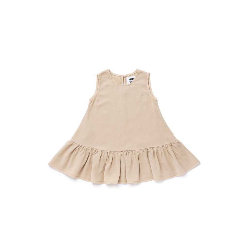 OMAMIMINI:Girls Tent Dress with Ruffle | Khaki OM267