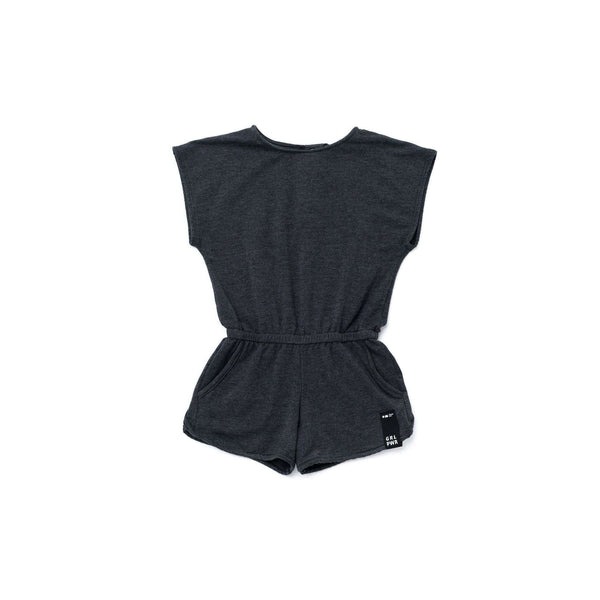OMAMIMINI:Girls Terry Romper| Charcoal OM274