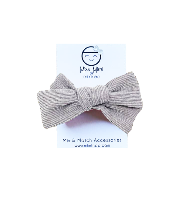 Corduroy Hair Bow - Gray