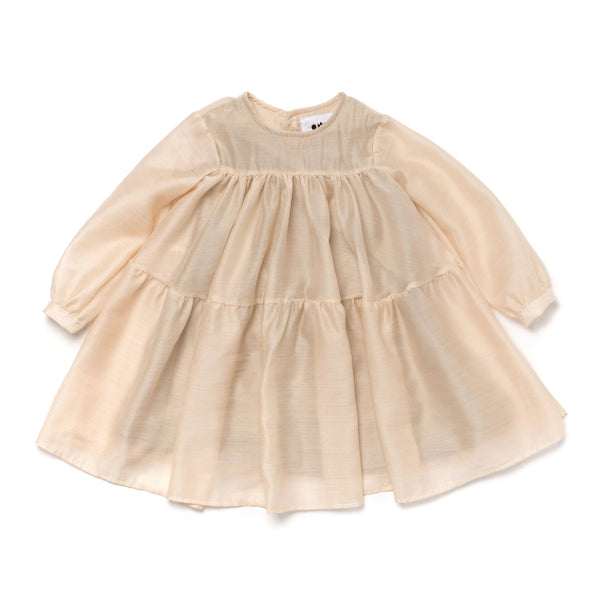 Japanese Shantung Voile Layered Dress | Sand OM380